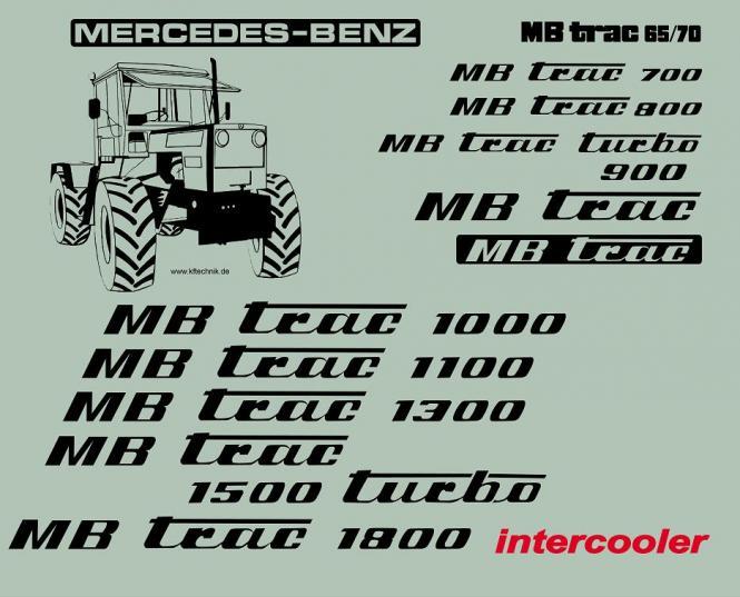 MB Trac 800 - Schrift wie 65/70 Beschriftung